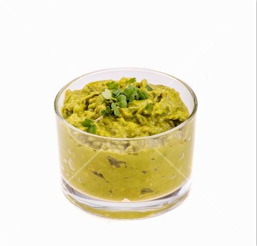 Guacamole in a small glass bowl