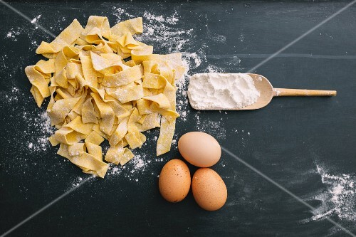 Homemade tagliatelle with flour and eggs
