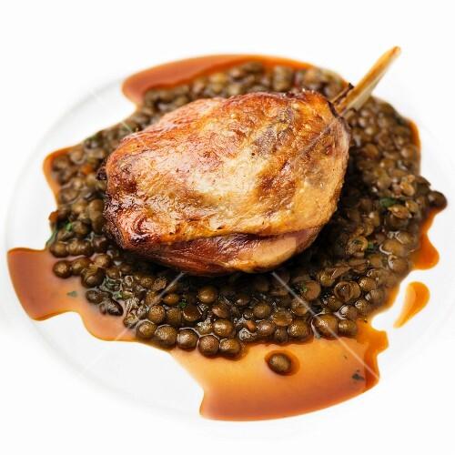 Duck leg with lentils