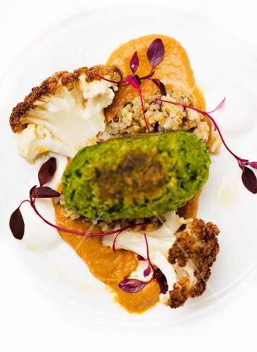 Coriander falafel with quinoa and cauliflower