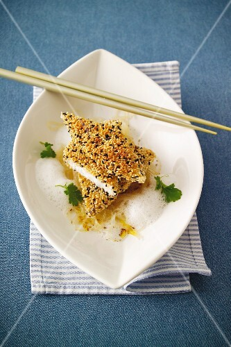 John Dory fillet with a sesame seed coating served with glass noodles and coconut foam