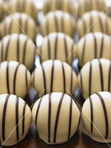 White chocolate pralines with dark chocolate stripes