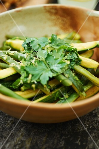 Courgette and bean salad