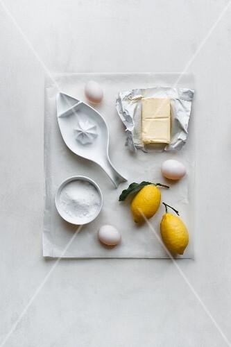 Ingredients for lemon cream