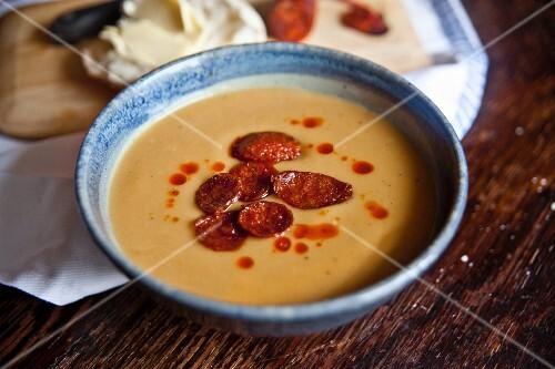 Sweet potato soup with fried chorizo