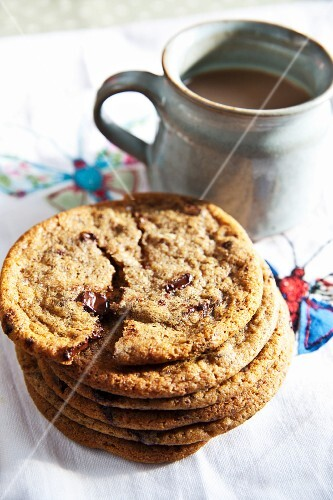 Freshly baked chocolate chip cookies with a mug of coffee