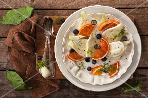 Fennel and orange salad with blueberries