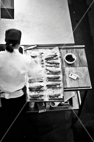 A chef preparing food