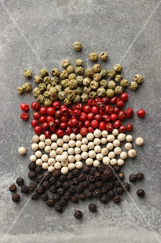 Various peppercorns (black, white, pink, green)