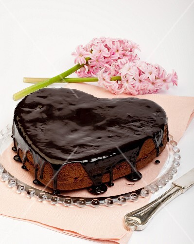 A heart-shaped chocolate cake