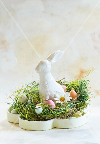 An Easter bunny in a nest