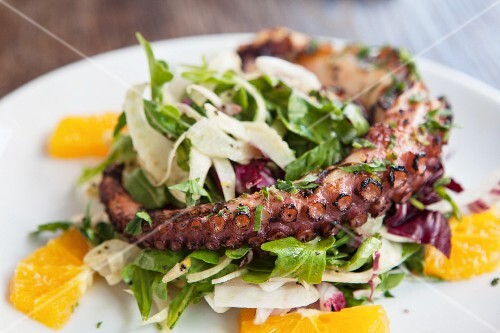 Octopus salad with blood orange, fennel, radicchio and rocket