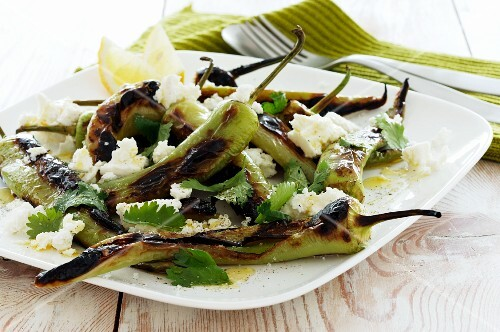 Grilled pointed peppers with feta cheese and a lemon vinaigrette