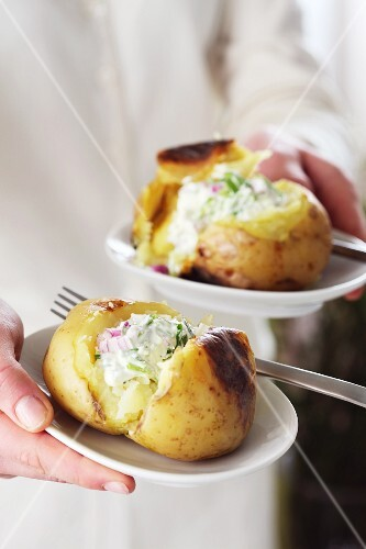 Baked potatoes with herb cream