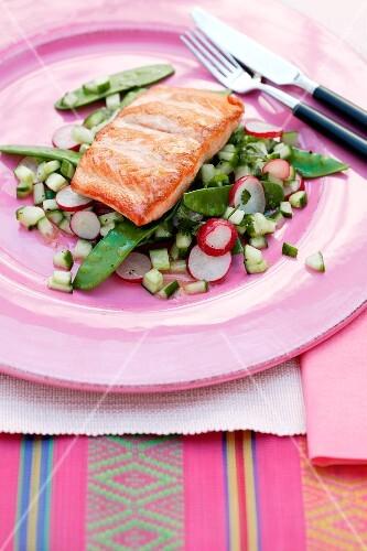 Fried salmon fillet on a warm vegetable salad
