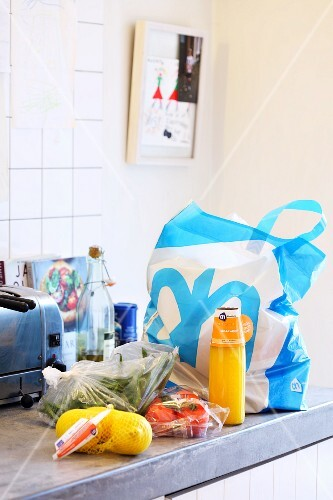 Shopping bags in a kitchen