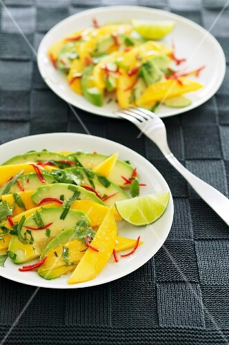 Avocado salad with a mango and lime dressing