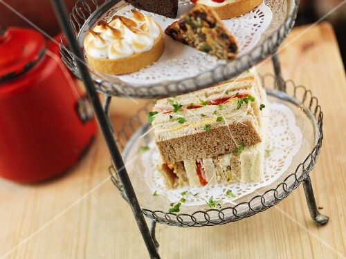 Sandwiches on a cake stand for tea time