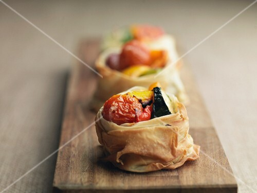 Roasted vegetable puff pastry tartlets