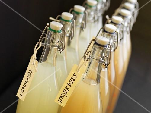 Bottles of lemonade and ginger beer