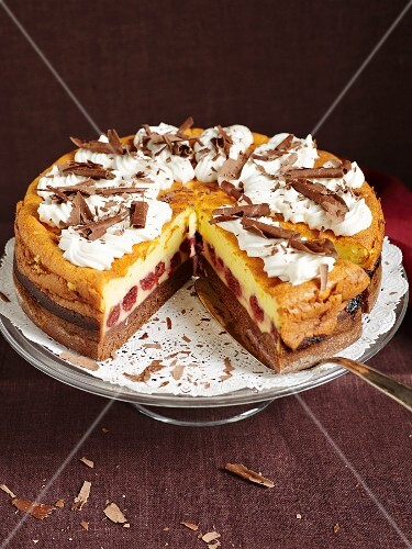 Eierschecke (speciality layer cake from Saxony and Thuringia) with cherries