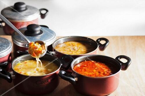 Various vegetable soups in pots