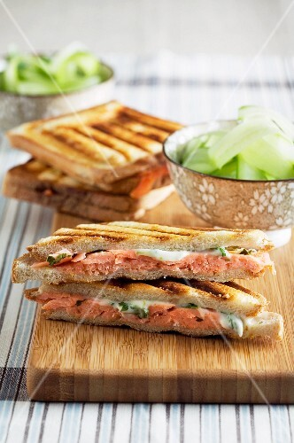 Toasted cucumber salad sandwiches