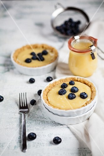 Leon curd tartlets with blueberries