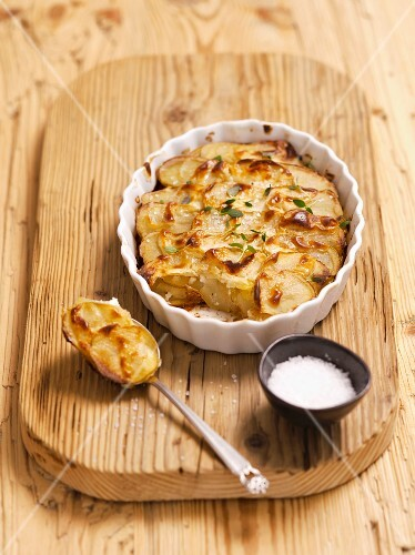 Potato gratin and salt