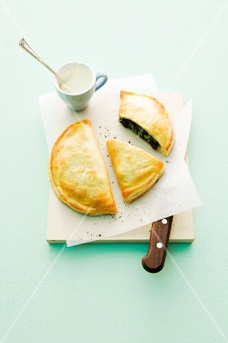 A puff pastry spinach pie