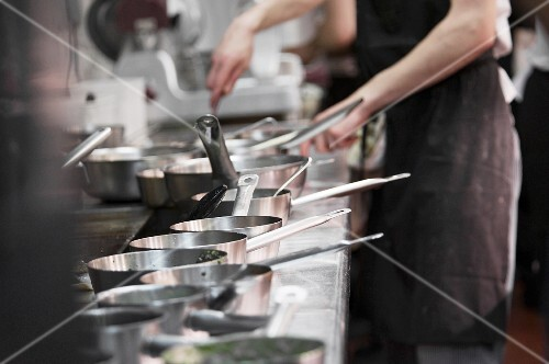 Pots and pan in a commercial kitchen