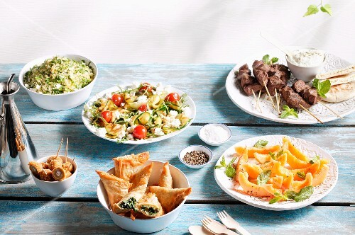 Various summery dishes on a buffet