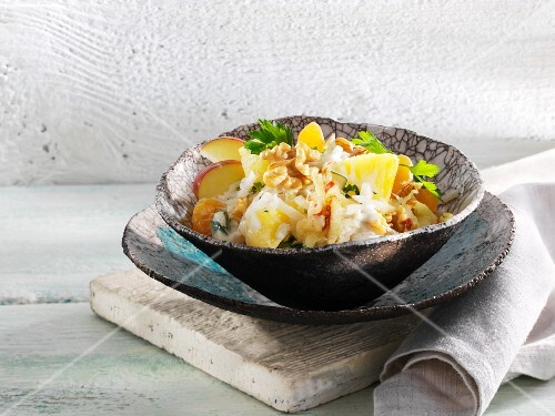 Fruity celery salad with pineapple, apple and walnuts