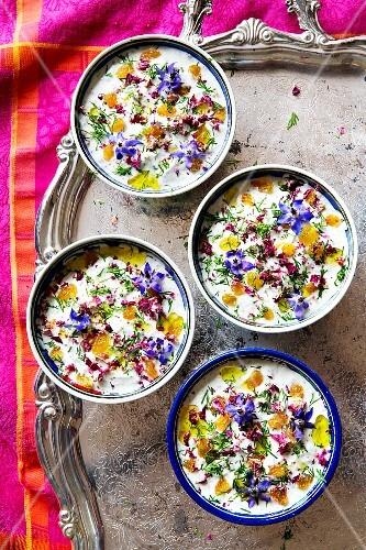 Yogurt dip with edible flowers (Iran)