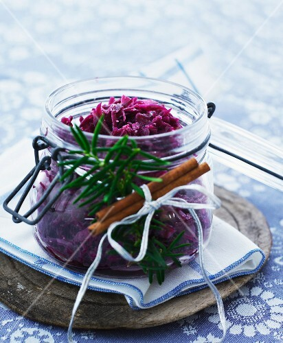 Red cabbage in a preserving jar