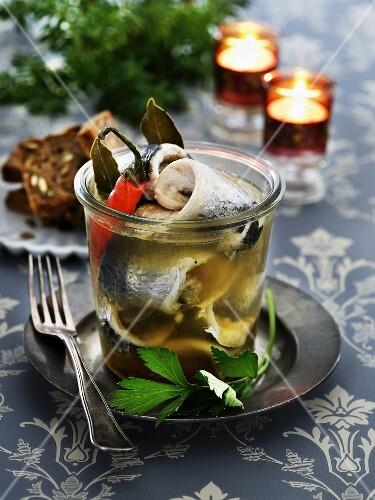 A jar of pickled herrings (Scandinavia)