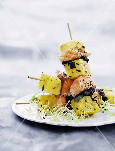 Salmon and polenta skewers