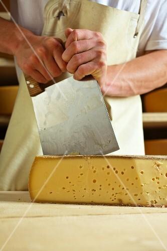 A dairyman cutting mountain cheese (Bregenzerwald, Vorarlberg, Austria)