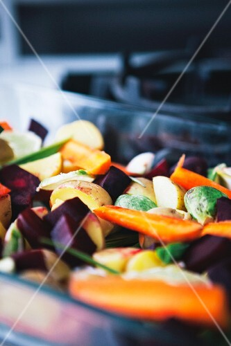 Vegetable bake with carrots and Brussels sprouts