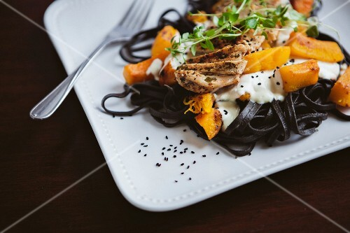 Squid pasta with chicken and pumpkin