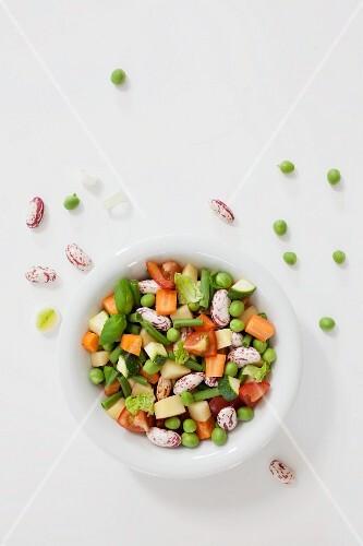 A bowl of soup vegetables