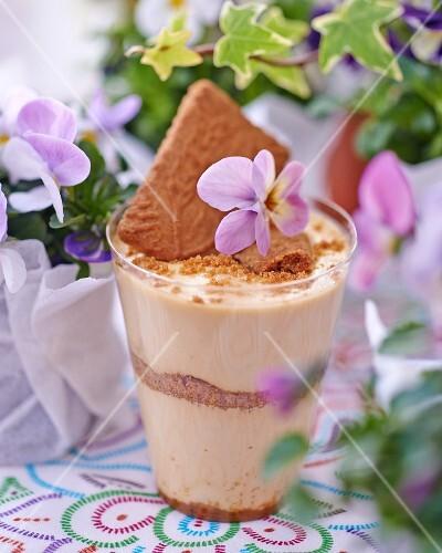 Creme caramel dessert in a glass