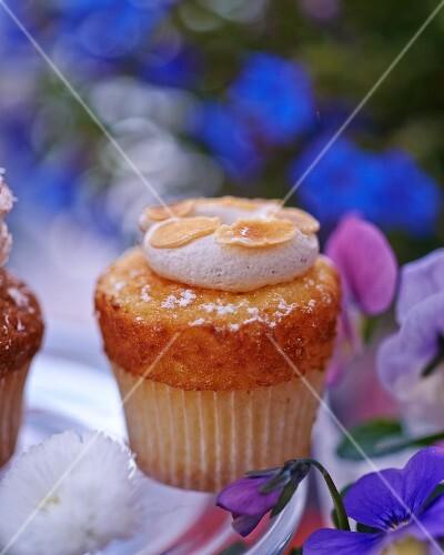 An almond cupcake