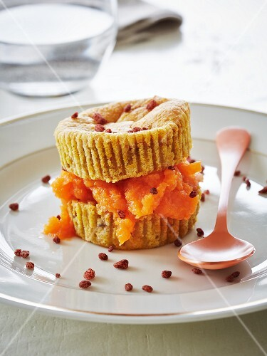 Pumpkin cupcakes with chopped pecan nuts