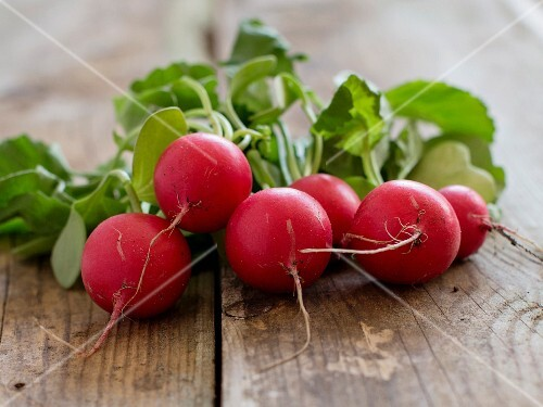 Radishes on a wooden table