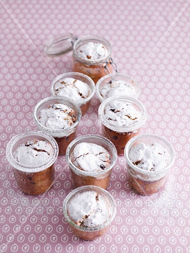Mini stollen cakes in glasses arranged in a Christmas tree shape