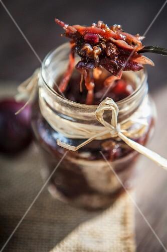 A jar of onion chutney