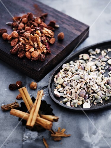 Various nuts and cinnamon sticks