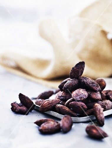 Almonds toasted in soy sauce