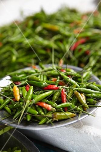 Fresh bird's eye chilli peppers